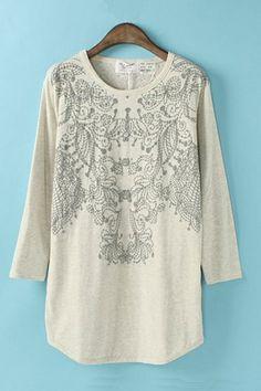 Vintage Pattern Printing Loose T-shirt  #6ks