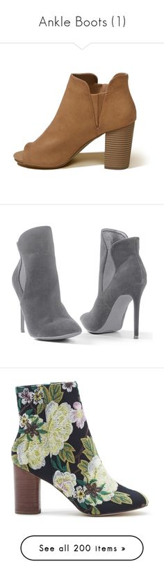 """Ankle Boots (1)"" by adorablequeen ❤ liked on Polyvore featuring shoes, boots, ankle booties, peep toe ankle boots, wedge ankle boots, wedge bootie, peep toe bootie, short boots, grey and bootie boots"
