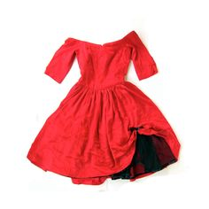 1930's Red CAN CAN Satin Off the Shoulder Dress with Peekaboo Crinoline, small. $ 65.00, via Etsy.