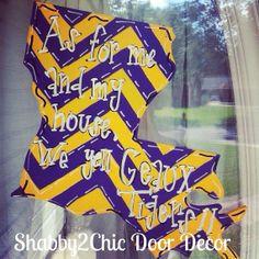Geaux Tigers Door Hanger, LSU door decor, LSU decor, chevron print, Hand Painted State of Louisiana on Etsy, $30.00