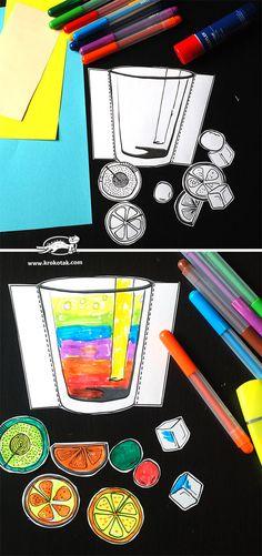 Make me a cocktail :) Kindergarten Art, Preschool Art, Preschool Activities, Drawing For Kids, Painting For Kids, Art For Kids, Primary School Art, Elementary Art, Projects For Kids