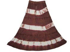 Bohemian Long Skirt, Brown White Tie-dye Full Ankle Length Gypsy Skirt for Womens Mogul Interior,http://www.amazon.com/dp/B00BIGG34W/ref=cm_sw_r_pi_dp_9U9jrb17D9SVRZDP