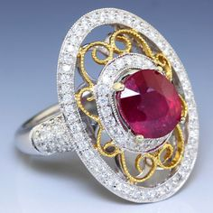 3.41ctw Oval Ruby & Diamond Open Filigree Right Hand Ring 18K Two Gone Gold US $2,995.00