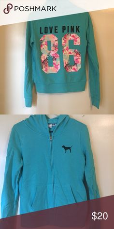 VS PINK summer hoodie! Turquoise blue hoodie from Victoria's Secret Pink. The back has 86 in floral print. Probably one of my favorite patterns they've made! The only thing wrong with it is it's missing the drawstring in the hood. PINK Victoria's Secret Tops Sweatshirts & Hoodies