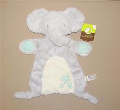 NEW CARTERS GRAY PUPPY DOG LOVEY WITH GREY SECURITY BLANKET BLUE COLLAR CARTER/'S