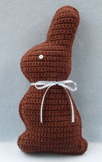 Chocolate Easter Bunny is worked flat, making front and back pieces, which are stitched together and stuffed to form bunny.