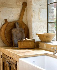 Rustic French farmhouse kitchen cutting boards and farm sink/reclaimed stone/steel window/Timeless and tranquil interior design decorating ideas on Hello Lovely to inspire your own classic decor/Pamela Pierce/Giannetti Home/Shannon Bowers/Veranda/Milieu French Cottage, French Country House, French Farmhouse, Country Living, Rustic French, White Farmhouse, Country Homes, Cottage Living, Farmhouse Style