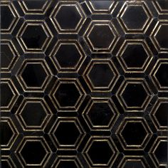 Black and Helix Gold Inlay Marble Tile - Hexagon Black Marble Tile, Black And Gold Marble, Black Tiles, Black And Gold Bathroom, Stone Mosaic Tile, Marble Mosaic, Mosaic Tiles, Mosaics, Hexagon Tiles
