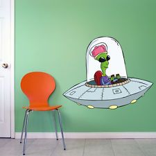 SMS8 - CARTOON UFO IN SPACECRAFT, LARGE WALL DECAL SPACE ALIEN CARTOON STICKER
