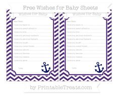 Royal Purple Chevron  Nautical Wishes for Baby Sheets