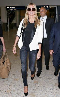 Heidi Klum is all smiles! Love that blazer, girl!