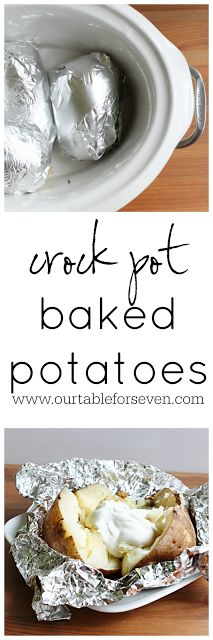 Crock Pot Baked Potatoes recipe from Our Table For Seven. This is my new favorite way to make baked potatoes now. They turn out so fluffy and yummy - perfect! Crock Pot Food, Crockpot Dishes, Crock Pot Slow Cooker, Healthy Crockpot Recipes, Slow Cooker Recipes, Cooking Recipes, Slow Cooking, Crockpot Meals, Freezer Meals