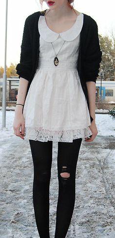 Sweet Peter Pan White Lace Dress