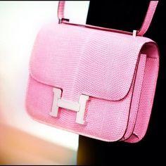 pink lizard Hermes constance bag