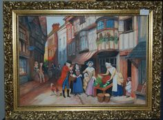 Painting in acrylic 18th century town scene by Nextchaptertrading on Etsy