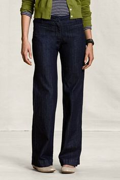 Lucky denim trousers with front slant pockets and back buckle ...