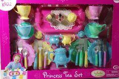 Girls Princess Tea Party Set 37pc Pastel Teapot Cups Dollies Cakes Tray Serves 4 #JustKidz