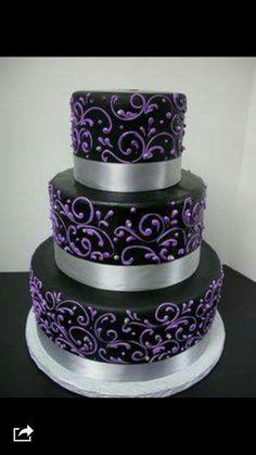 Black Cake with Purple Filigree decirations