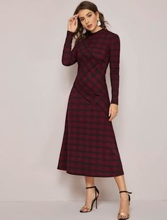 Check out and shop Mock-Neck Spliced Plaid Dress Sleeve Cable Knit Mini Sweater Dress Floral Print 2 in 1 High Low on discounted prices Plaid Dress, Spandex Material, Collar Dress, Types Of Sleeves, Mock Neck, Wrap Dress, Curvy, Floral Prints, Fashion Dresses