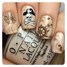 """Pirate nails ⚓️ OPI My Vampire Is Buff stamped using Bundle Monster BM-301, BM-507, BM-508, BM-509, and BM-510 in Butter London Yummy Mummy, Zoya Codie,…"""