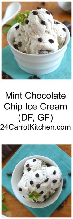 Just a few ingredients - click the photo for the recipe for this creamy, delicious Mint Chocolate Chip Coconut Milk Ice Cream! |grain free, gluten free, coconut milk, ice cream, dessert, vegan, paleo,dairy free, ice cream maker|