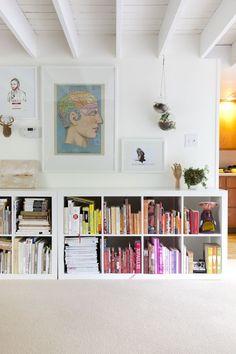downstairs / horizontal ikea expedit bookshelves in kate jordan and david chanpongs home in philadelphia; photo by nick steever.