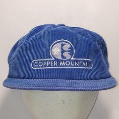 36ea9604c99ba Vintage Copper Mountain Blue Gray Corduroy Zip Strapback Trucker Hat T7  JN8072