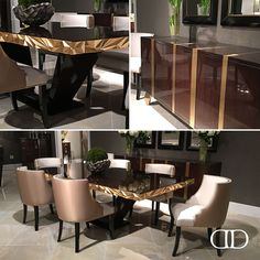 Luxe Look: Dorya's Jager Dining Table, Velo Side Chair and Sideboard debuted at this Interior Neoclásico, Luxury Homes Interior, Interior Design Living Room, Living Room Decor, Luxury Dining Tables, Luxury Dining Room, Dining Table Design, Dining Chairs, Luxury Furniture