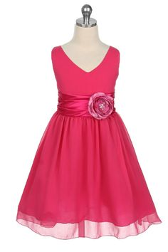 Flower Girl Dresses - Pink Flower Girl Dresses - MB1082 - Fuschia Yoru Chiffon Dress - Isabell