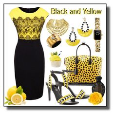 """""""Black and Yellow"""" by jonna-hansen ❤ liked on Polyvore featuring WithChic, BaubleBar, Louis Vuitton, Kat Von D, ALDO, Chanel and Alexis Bittar"""