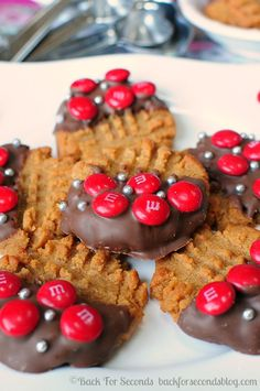 3 Ingredient Chewy Peanut Butter Cookies **Gluten Free** http://backforsecondsblog.com #easy #glutenfree #m&m's #glutenfreecookies