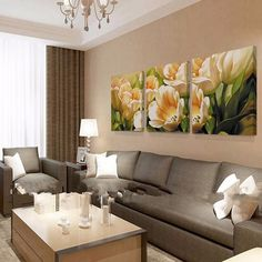 No Frame 3 Piece Tulip Wall Art Canvas Painting Wall Pictures for Living Room Flowers Home Decoration Picture Oil Painting HY10 | EverythingBuyOnline Store