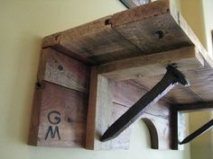 **********Please note: All orders taken after December may need to be fulfilled after January Add a rustic touch to any room with this wood shelf made from repurposed end boards and railroad spikes. A natural finish is recommended in order to really Old Pallets, Recycled Pallets, Wooden Pallets, Railroad Spikes Crafts, Railroad Spike Art, Diy Pallet Projects, Wood Projects, Woodworking Projects, Pallet Ideas