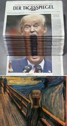 Trump Screaming In A Stack Of Newspapers | Bored Panda