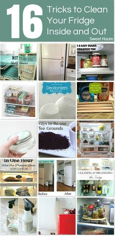16 ways to organize and clean your refrigerator inside and out. http://www.hometalk.com/l/zS