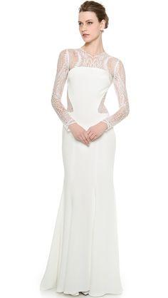 Monique Lhuillier Halle Long Sleeve Sheath Gown