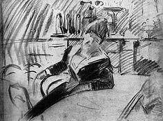 Henry van de Velde: Sitzende Frau, Kohlezeichnung