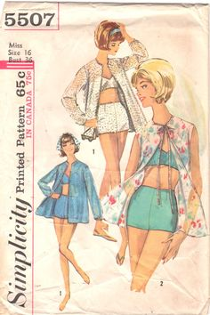 590d9080afc 1960s Simplicity 5507 Misses Beach Jacket and Two Piece SWIMSUIT Pattern  Bra Top Boy Shorts Womens Vintage Sewing Size 14 Bust 34