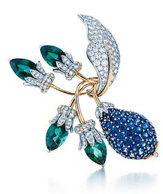 Tiffany brooch with diamonds, sapphires and emeralds