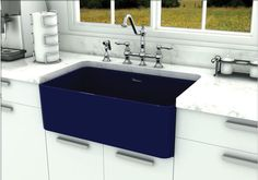 """Whitehaus 30"""" Fireclay Farmhouse Sink WH3018-BLUE Description Whitehaus 30"""" Smooth Apron Front Reversible Fireclay Single Bowl Sink.This sink will be the center piece of your kitchen for years to come"""