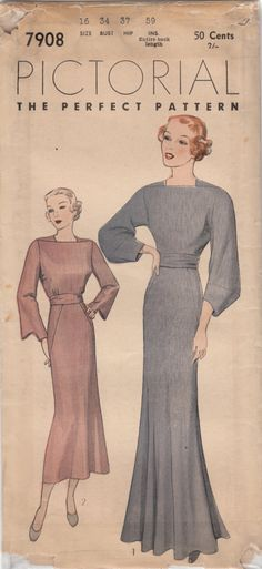 1930's dress pattern Pictorial 7908.