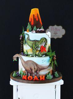 Dinosaur cake with fondant t-rex, brontosaurus, volcano, and dinosaur eggs/nest. T Rex Cake, Dino Cake, Dinosaur Birthday Cakes, Dinosaur Party, Dinosaur Eggs, 5th Birthday, Dinosaur Cakes For Boys, Dinosaur Diorama, Bolo T Rex