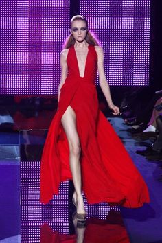 Red Hot High Slit Dress from #Versace