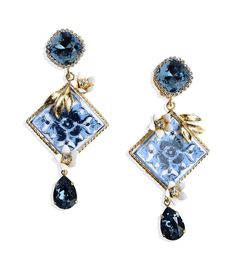 Embellished Clip-on Earrings by Dolce & Gabbana Dolce & Gabbana, Dolce And Gabbana Earrings, Dolce And Gabbana Blue, Blue Earrings, Crystal Earrings, Clip On Earrings, Opal Jewelry, Crystal Jewelry, Stone Jewelry