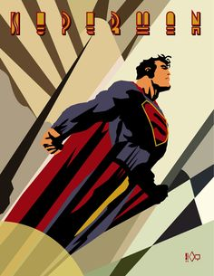 """Superman"" Art Deco Style, very much in the vein of the advance poster for ""Rocketeer."" By Aaron Markwell Batwoman, Nightwing, Superman Art, Superman Family, Superman Man Of Steel, Superman Stuff, Bruce Timm, Red Hood, Comic Books Art"
