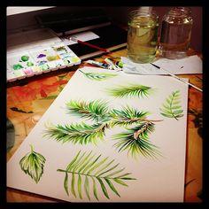 watercolor painting by surface designer @marinabarbato