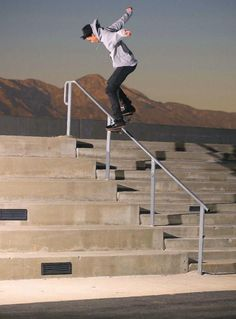 This Is a picture of my favourite Skateboarder Nyjah Huston and he is doing back-side board slide down a 12 stair handrail!