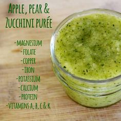 Puree Pear and Zucchini Applesauce! A great way to get in protein. All homemade, organic and low histamine baby and toddler food.Pear and Zucchini Applesauce! A great way to get in protein. All homemade, organic and low histamine baby and toddler food. Baby Puree Recipes, Pureed Food Recipes, Cooking Recipes, Protein Recipes, Detox Recipes, Healthy Recipes, Toddler Meals, Kids Meals, Toddler Food