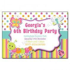 Bugs Erfly Children S Party Invitation Beautiful Rainbow Colours Kids