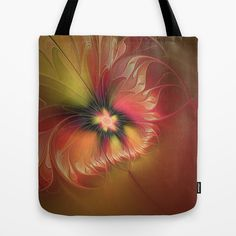 Fantasy Flower, Abstract Fractal Art Tote Bag by gabiw Art.